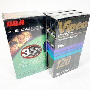 Set of 6 New Sealed VHS Tapes RCA & Recotron